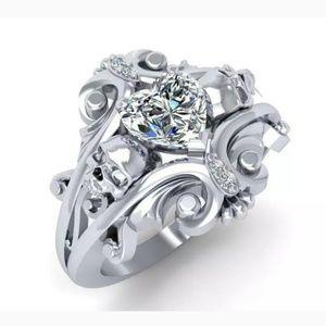 Size 5 skull ring heart